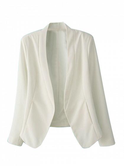 White Single Button Long Sleeve Slim-cut Blazer