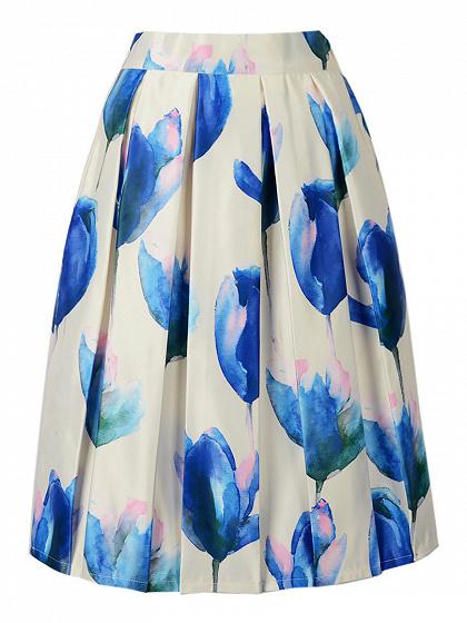White Floral Print High Waist Midi Skirt