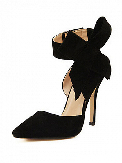 Black Detachable Bow Embellishment High Heeled Pumps