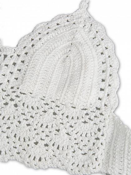 White Halter Crochet Bralet Top