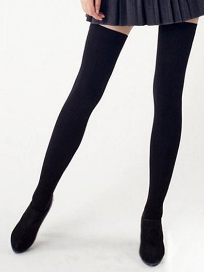Black Ribbed Detail Thigh High Socks