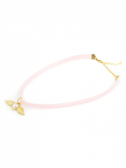 Pink Winged Heart Drop Strap Choker Necklace