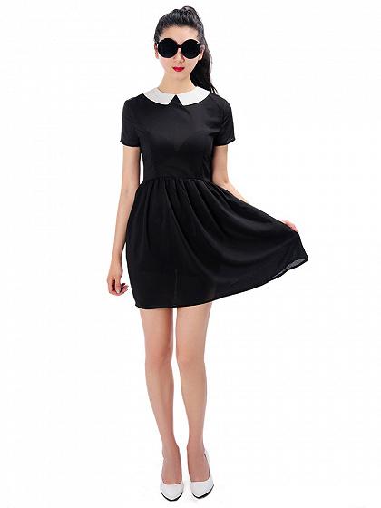 Black Maid Collar Short Sleeve Chiffon Dress