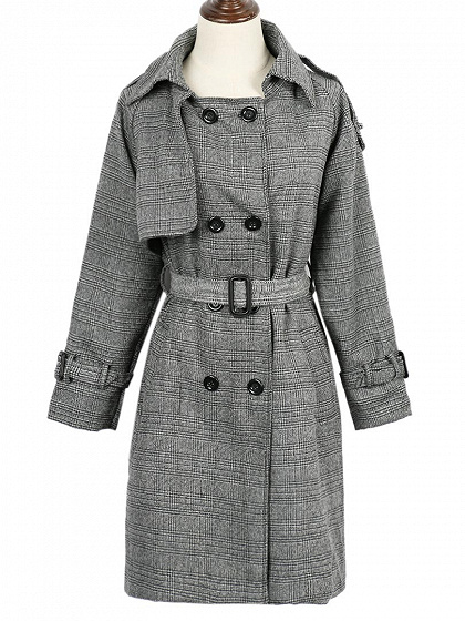 Monochrome Plaid Double-breasted Pocket Detail Tied Trench Coat