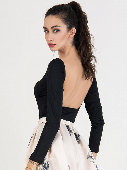 Black Scoop Neck Long Sleeve Backless Bodysuit