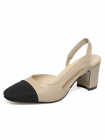 Beige Contrast Toe Heeled Shoes