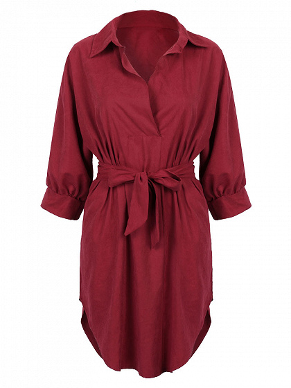 Burgundy Tied Waist 3/4 Sleeve Dipped Shirt Dress