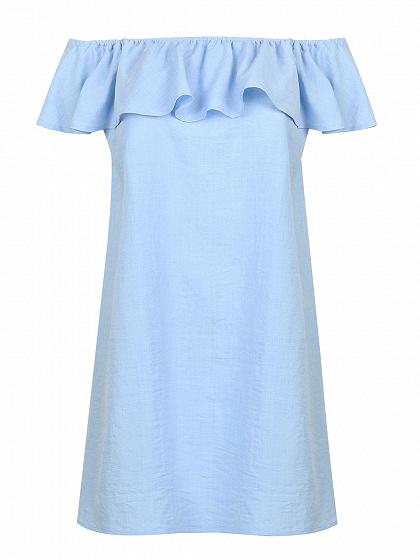 Blue Off Shoulder Ruffle Overlay Shift Dress