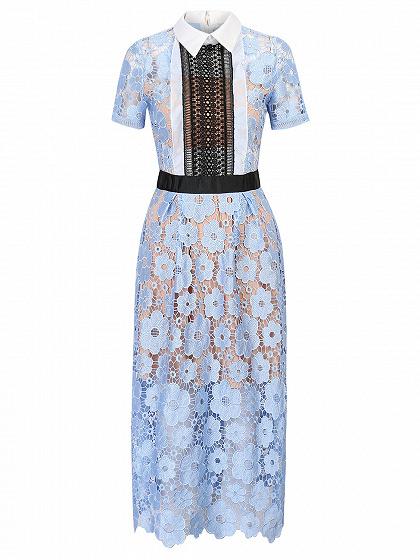Blue Cut Out Detail Lined Floral Lace Midi Dress