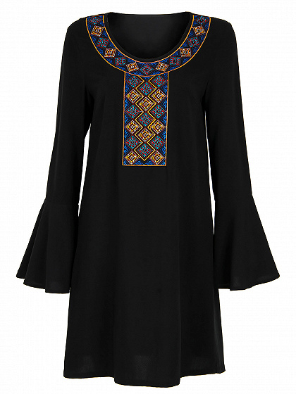 Black Geo Embroidered Flare Sleeve Shift Dress