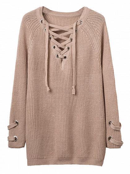 Khaki Plunge Neck Lace Up Front Long Sleeve Knit Dress