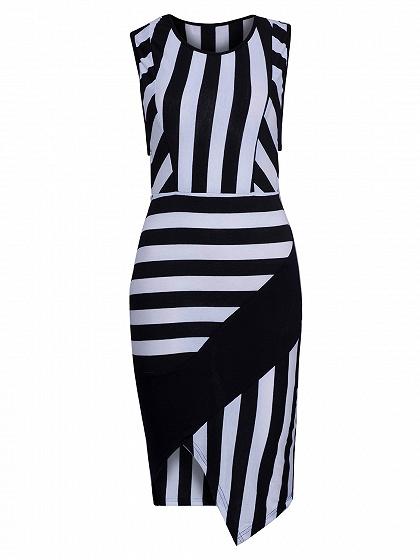 Monochrome Stripe Print Asymmetric Bodycon Dress