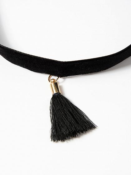 Black Tassel Pendant Choker Necklace