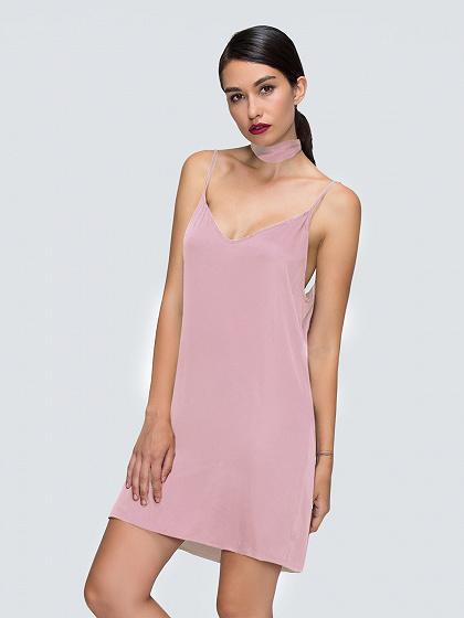 Pink Plunge Choker Tie Satin Cami Strap Slip Dress