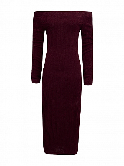 Burgundy Off Shoulder Long Sleeve Ribbed Bodycon Midi Dress