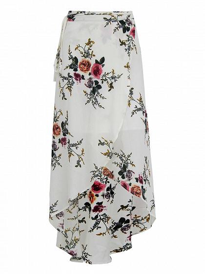 White Floral High Waist Wrap Front Split Maxi Skirt