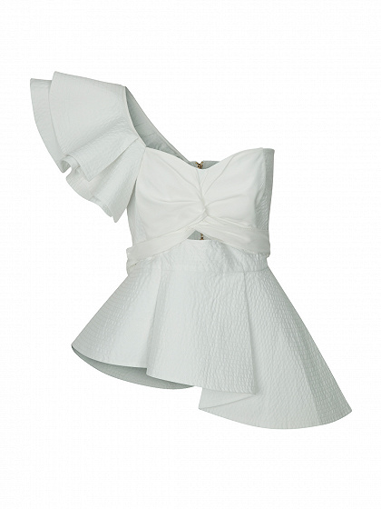 White Knot Front Cut Out Ruffle Detail Tie Waist Peplum Blouse