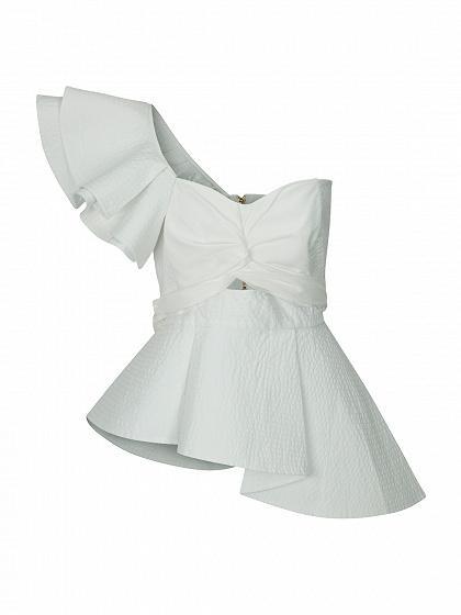 Nudo blanco Frente fotografica detalle de la colmena de la blusa cintura del lazo Peplum