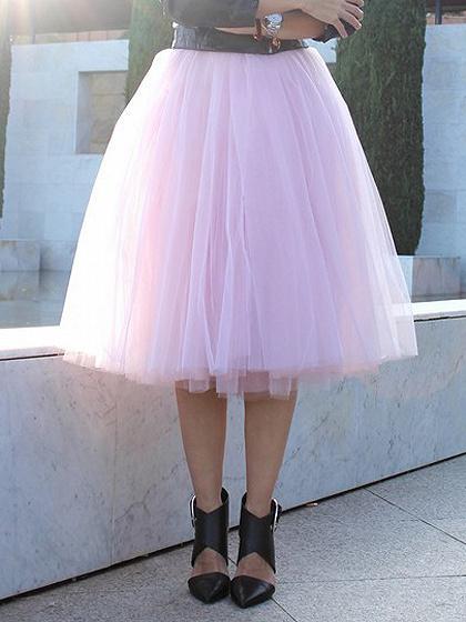 Pink High Waist Tulle Mesh Skater Skirt