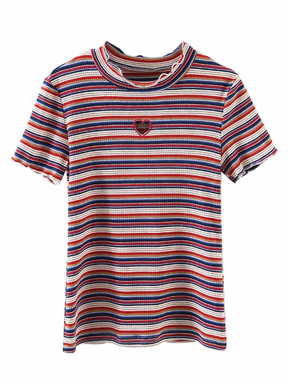 Multicolor Stripe Cut Out Heart Short Sleeve Ribbed T-shirt