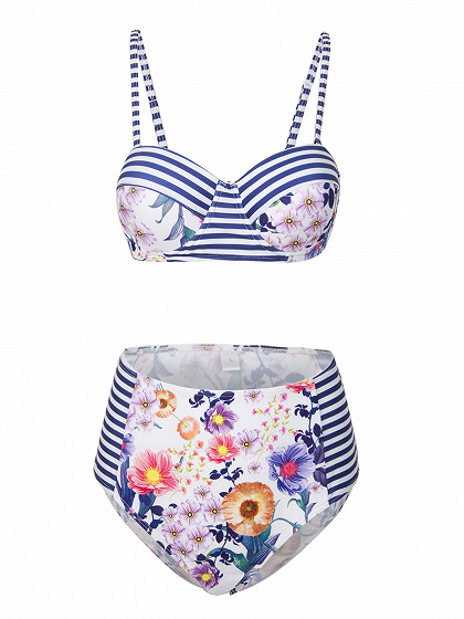 Multicolor Bandeau Stripe And Floral Padded Bikini Top And Bottom