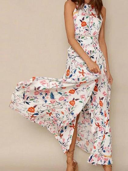 Polychrome Floral Open Back Tie Waist Split Maxi Beach Dress