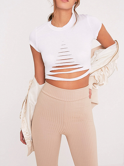 White Ripped Short Sleeve Cropped T-shirt