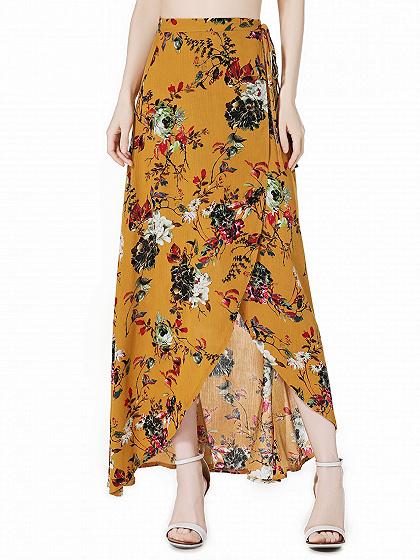 Yellow Floral High Waist Boho Wrap Maxi Skirt