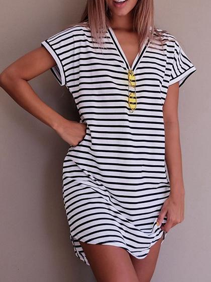 Black Stripe V Neck Short Sleeve Tee Dress