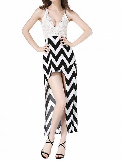 Vestido superior Cami negro Chevron asimétrico Falda de encaje