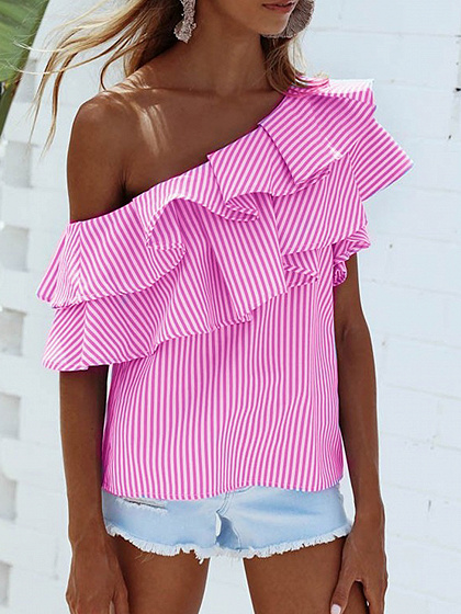 Pink Striped One Shoulder Layered Ruffle Top