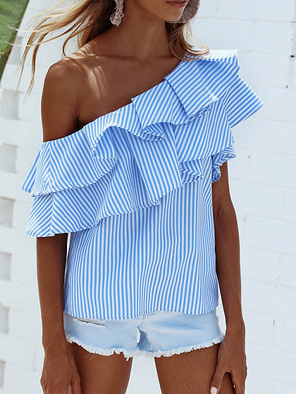 Blue Striped One Shoulder Layered Ruffle Top