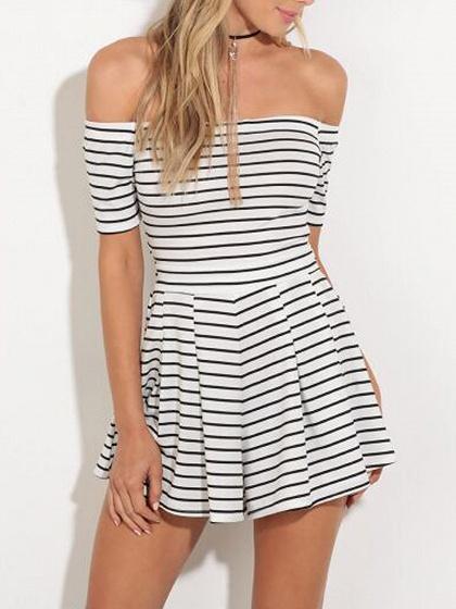 Monochrome Stripe Off Shoulder Cut Out Back Short Sleeve Dress