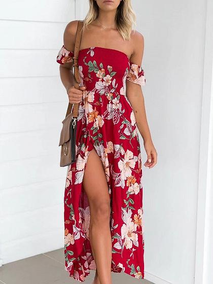 Roja del hombro de la impresión floral de tiras de una faja de espalda vestido maxi