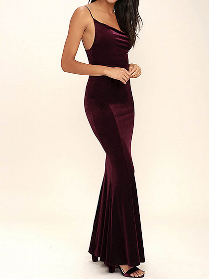 Burgund Spaghetti-Bügel-Backless Samt Maxi-Kleid