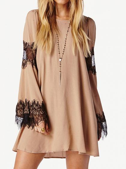 Light Khaki Lace Panel Flare Sleeve Draped Back Dress
