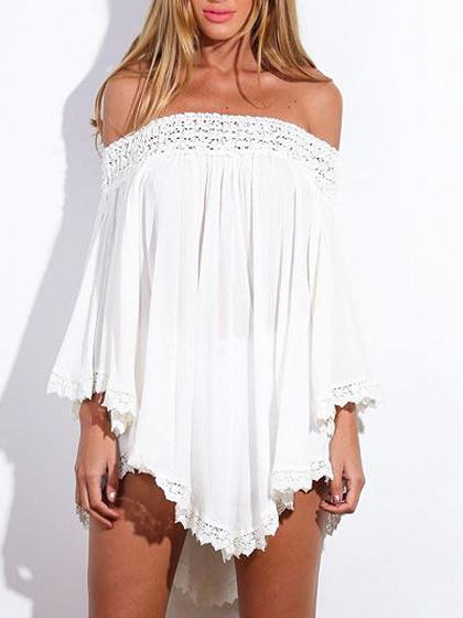 White Off Shoulder Asymmetric Crochet Lace Dress-top