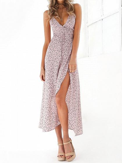 Rosa claro floral Lazo de la impresión abrigo de la cintura del vestido maxi Cami