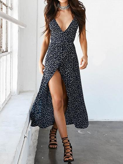 Black Spot Print Tie Waist Wrap Cami Maxi Dress