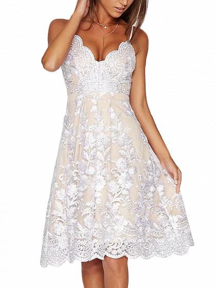 White V-neck Embroidery Scalloped Hem Lace Overly Slim Strap Dress