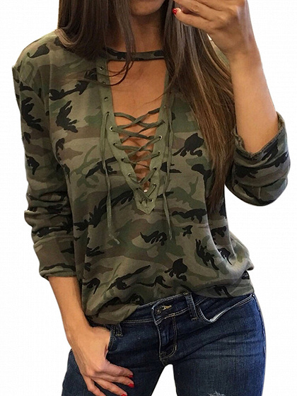 Green Camo Plunge Lace-up Front Long Sleeve T-shirt