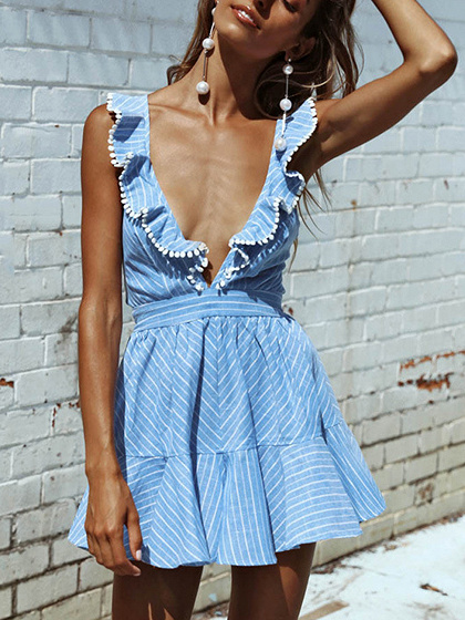 Blue Plunge Ruffle Strappy Back Skater Dress