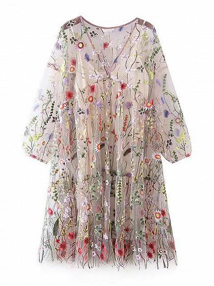 Polychrome V-neck Embroidery Floral Cami Lining Babydoll Dress