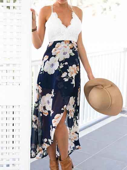 White V-neck Lace Overlay Open Back Floral Split Maxi Dress