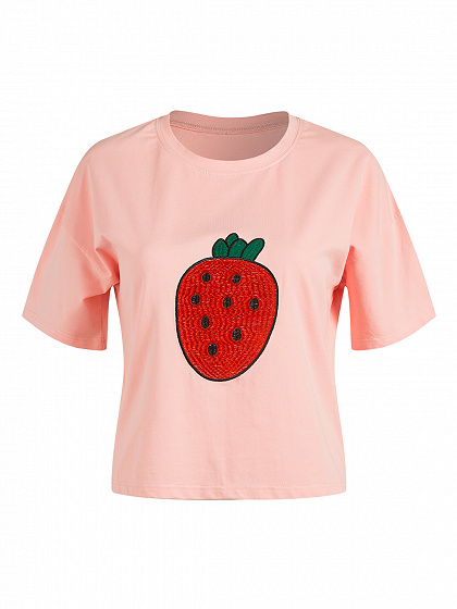 Pink Strawberry Embroidery Short Sleeve T-shirt