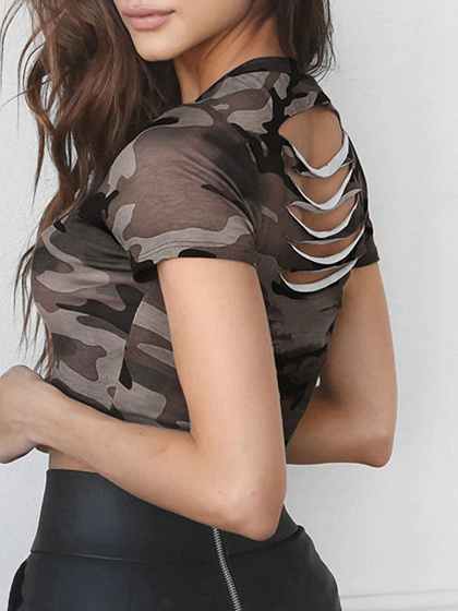 Green Camo Print Slit Back Short Sleeve Crop T-Shirt
