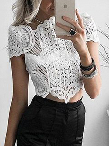 White Cutwork Lace Crop Top