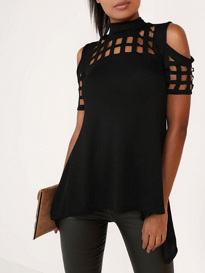 Black High Neck Lattice Cut Out Split Back Cold Shoulder Top