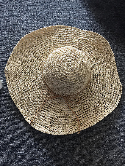 Beige Straw Floppy Sun Hat