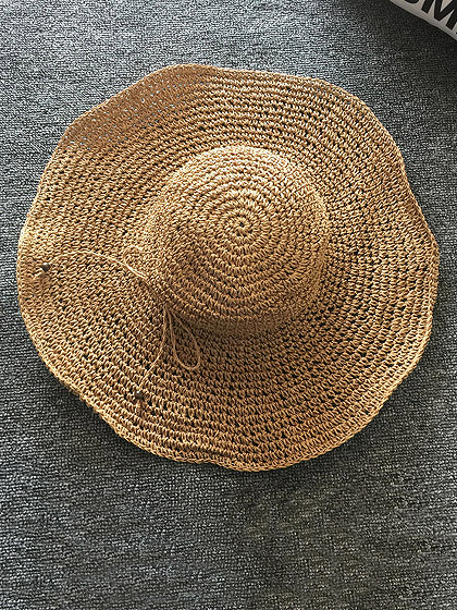 Caffee Straw Floppy Sun Hat